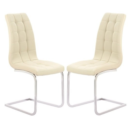 Torres Dining Chair In Cream Faux Leather in A Pair