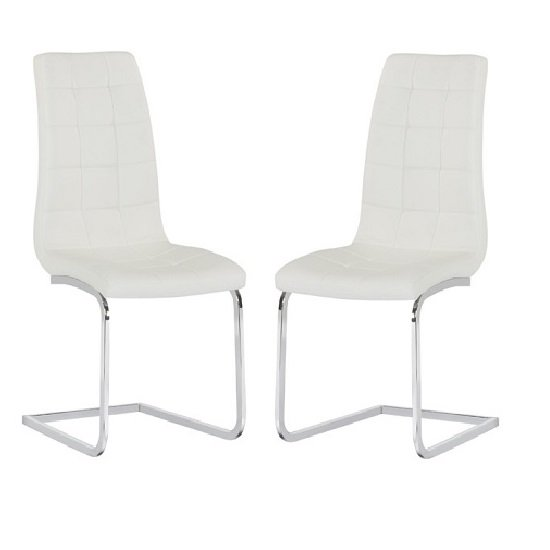 Torres Dining Chair In White Faux Leather in A Pair