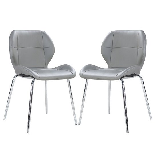 Darcy Dining Chair In Grey Faux Leather in A Pair