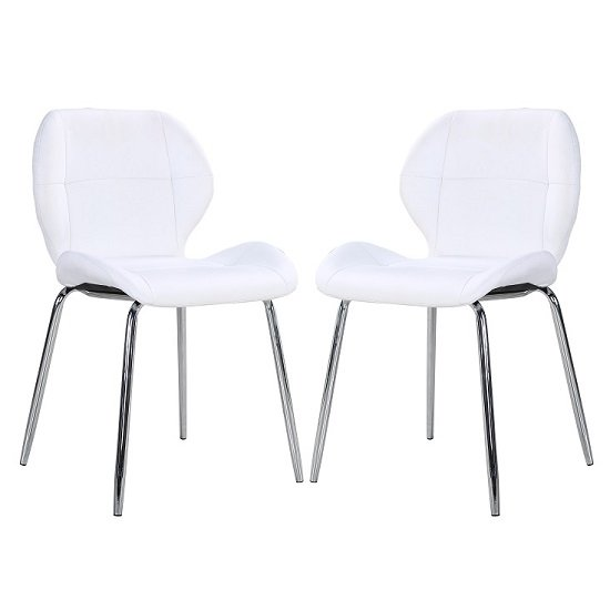 Darcy Dining Chair In White Faux Leather in A Pair
