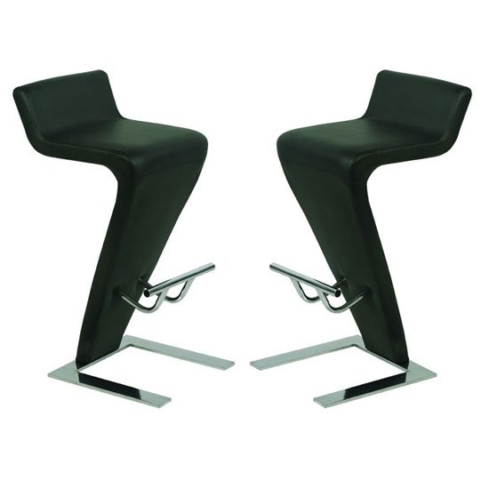 Farello Bar Stools In Black Faux Leather in A Pair