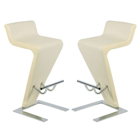 Farello Bar Stools In Cream Faux Leather in A Pair