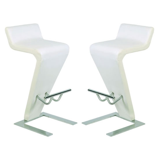 Farello Bar Stools In White Faux Leather in A Pair