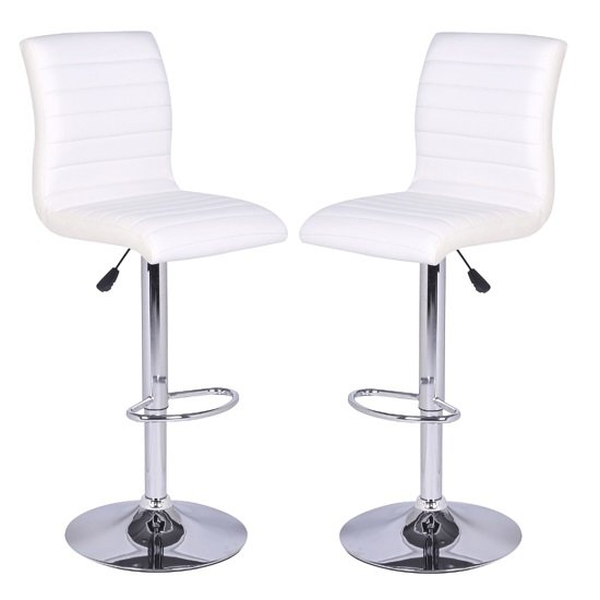 Ripple Bar Stools In White Faux Leather in A Pair