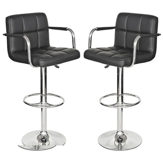 Glenn Bar Stools In White Faux Leather In A Pair 25416 Furni
