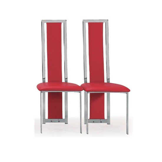 Nicole Dining Chair In Red Faux Leather in A Pair