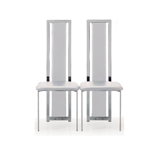 Nicole Dining Chair In White Faux Leather in A Pair