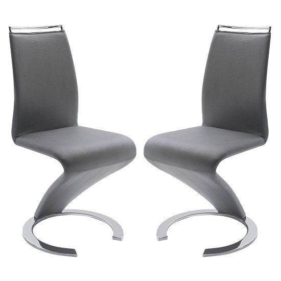 Summer Z Shape Dining Chair In Grey Faux Leather in A Pair