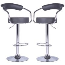 Zenith Bar Stools In Charcoal Grey Faux Leather in A Pair