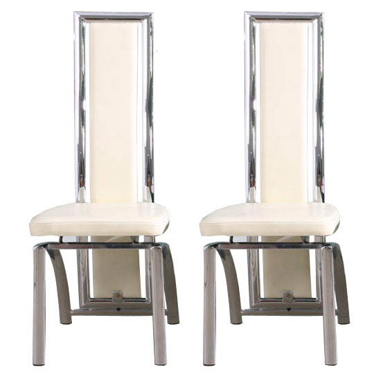 Dining Room Chairs Chicago: Chicago Dining Chair In Cream With Padded Seat And Chrome Le