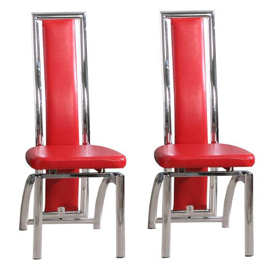 Chicago Red Dining Chairs in A Pair