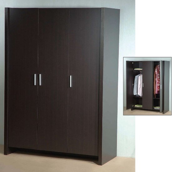 Dano 3 Door Wardrobe In Expresso Brown 5074 Furniture IN Fas