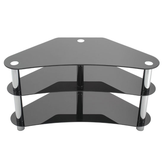 3 Tier Black Glass Corner TV Stand, 2402147