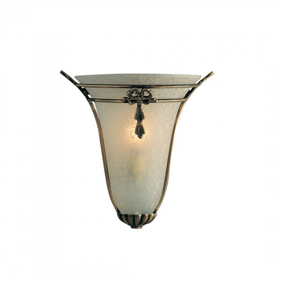 Single Wall Light With Frosted Glass In Antique Brass Finish