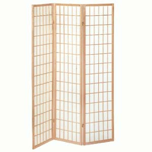 Wooden Folding Room Divider In Natural Finish