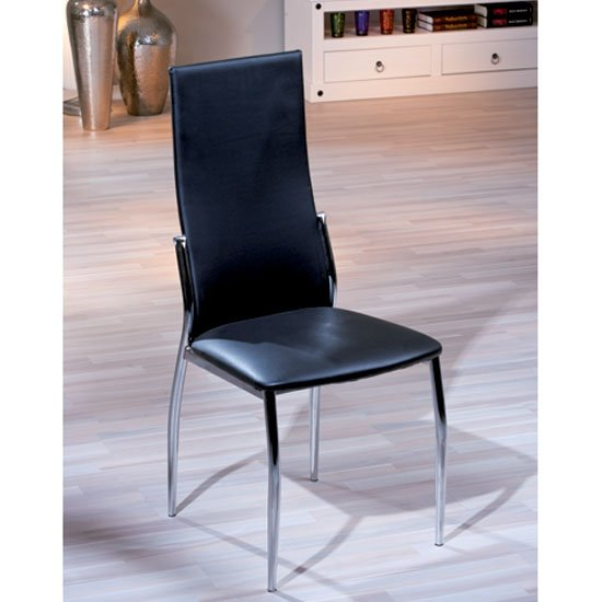 Delta dining chair in black faux leather with chrome legs for Black leather dining room chairs