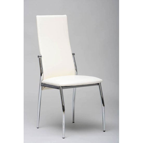 folio dining chair in white faux leather with chrome legs. Black Bedroom Furniture Sets. Home Design Ideas