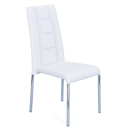 Romania Dining Chair In White Faux Leather With Chrome Base_1
