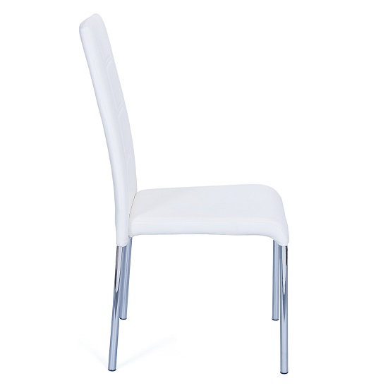Romania Dining Chair In White Faux Leather With Chrome Base_2