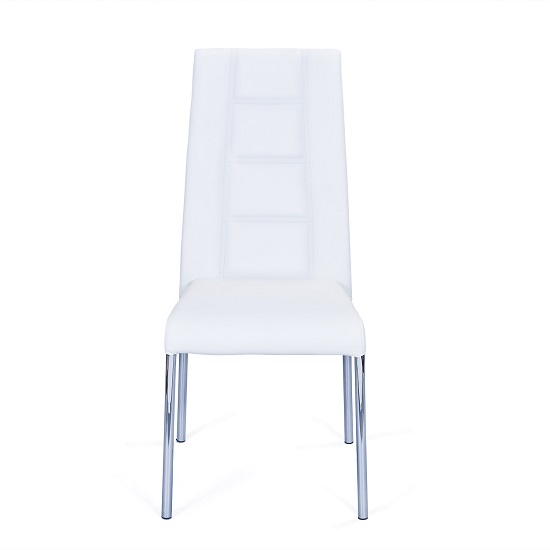 Romania Dining Chair In White Faux Leather With Chrome Base_3