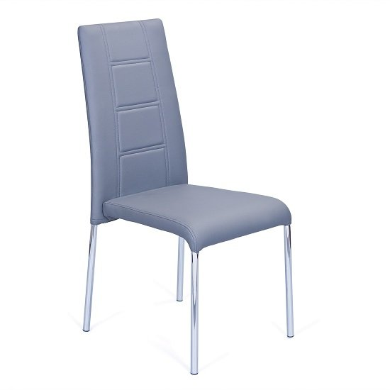 Romania Dining Chair In Grey Faux Leather With Chrome Legs_1