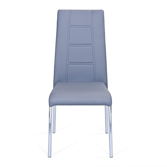 Romania Dining Chair In Grey Faux Leather With Chrome Legs_2