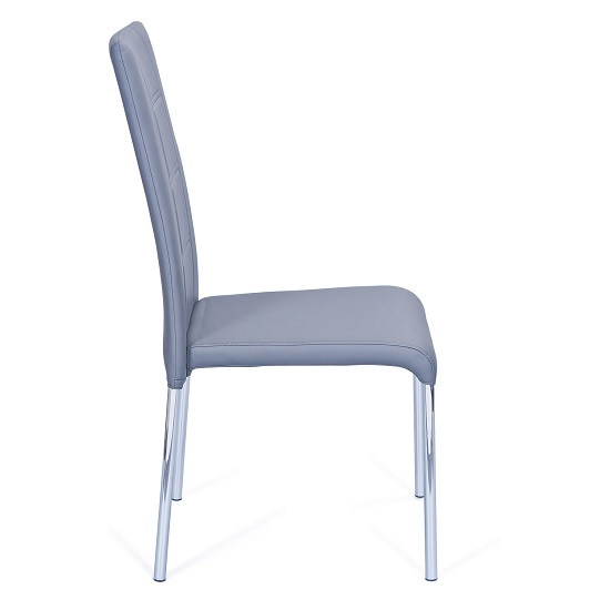 Romania Dining Chair In Grey Faux Leather With Chrome Legs_3