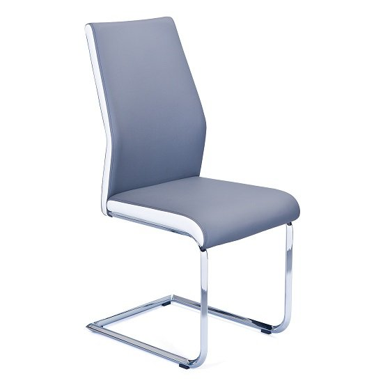 Marine Dining Chair In Grey And White PU Leather And Chrome Base_1