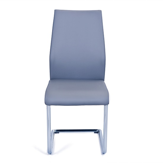 Marine Dining Chair In Grey And White PU Leather And Chrome Base_2