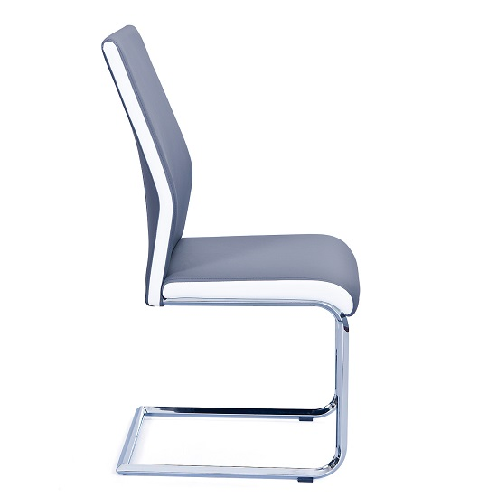 Marine Dining Chair In Grey And White PU Leather And Chrome Base_3