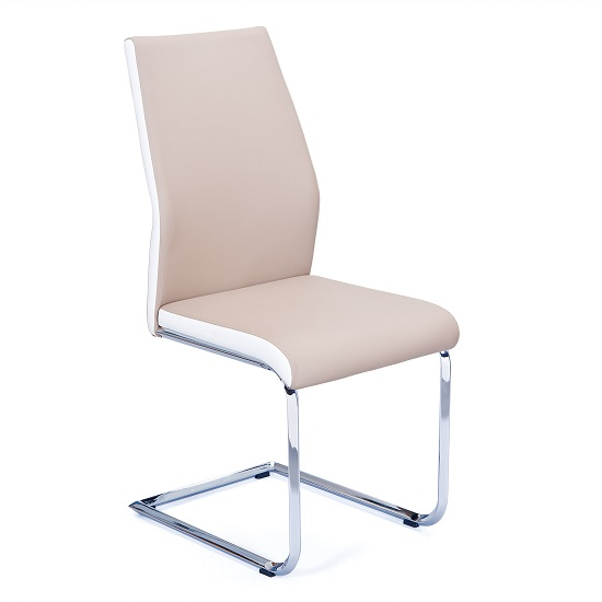 Marine Dining Chair In Beige And White PU Leather Chrome Base_1