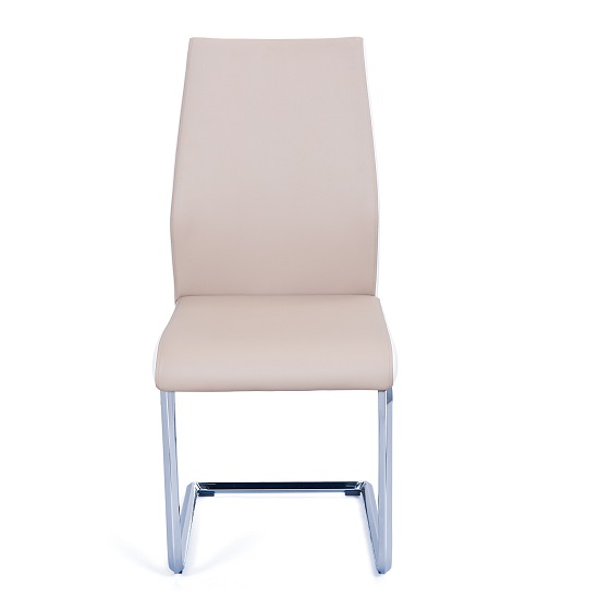 Marine Dining Chair In Beige And White PU Leather Chrome