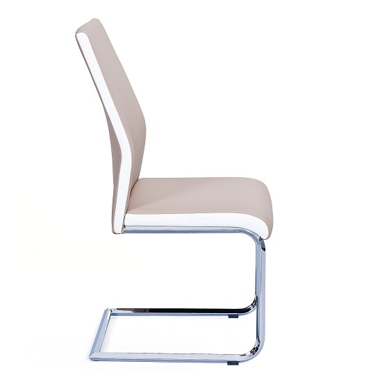 Marine Dining Chair In Beige And White PU Leather Chrome Base_3