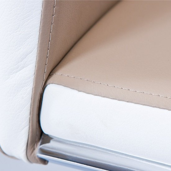 Marine Dining Chair In Beige And White PU Leather Chrome Base_6