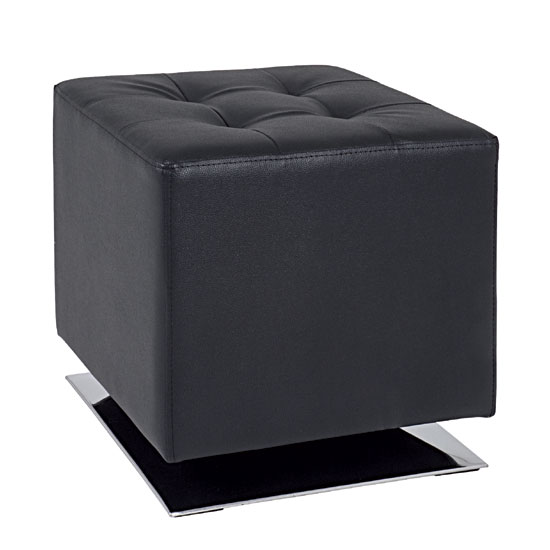 Beto Square Stool In Black Faux Leather With Chrome Base