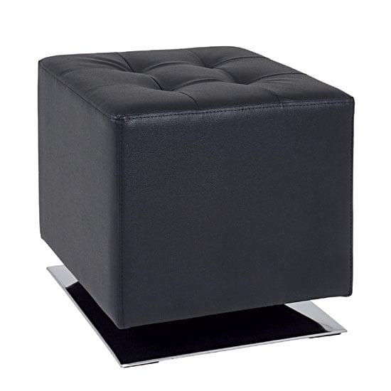 Beto square stool in black faux leather with chrome base - Pouf coffre de rangement gris ...