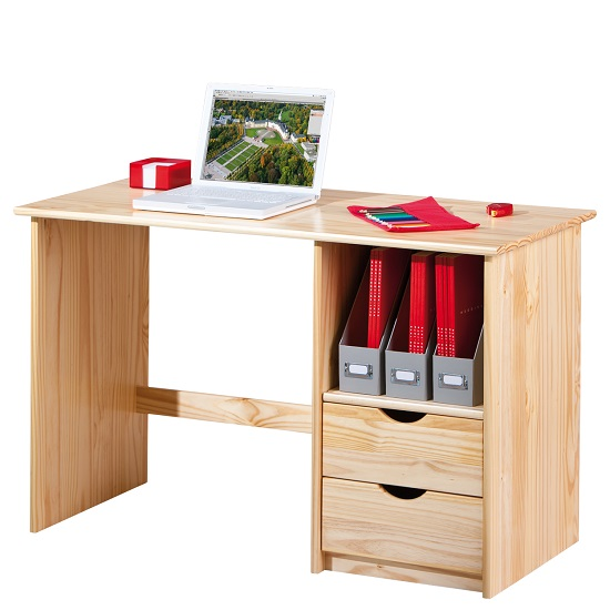 Croma Wooden Computer Desk In Natural With 2 Drawers_5