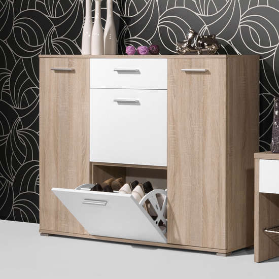 Read more about Anna wooden shoe cabinet in oak and white