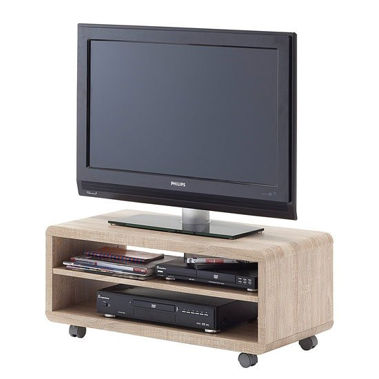 'Jeff7 Lowboard Lcd Tv Stand In Rough Sawn Oak With Wheels