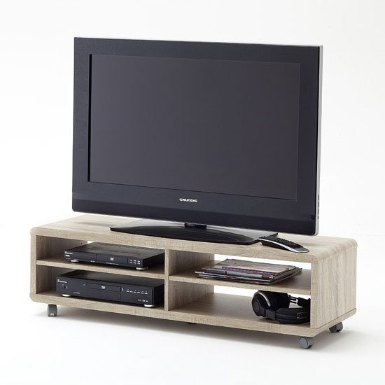 'Jeff7xl Lowboard Lcd Tv Stand In Rough Sawn Oak With Wheels
