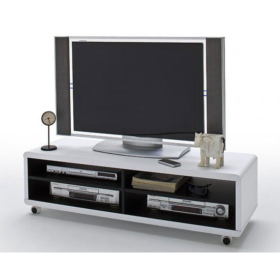 View Jeff7xl lowboard lcd tv stand in white and black with wheels