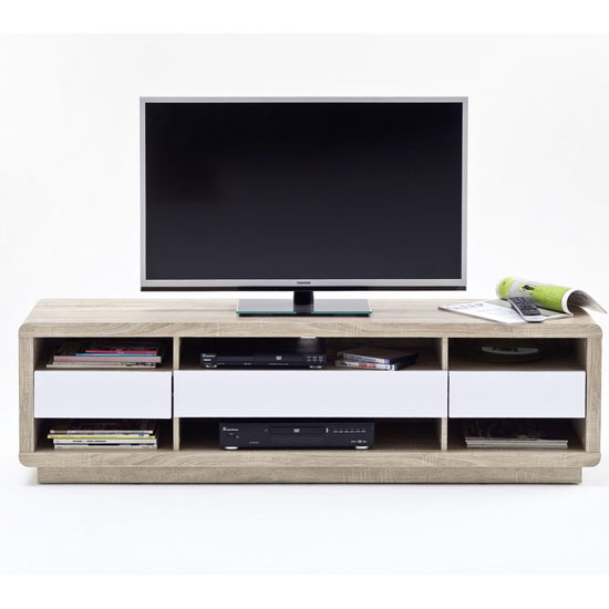 Garry LCD TV Stand In Rough Sawn Oak And White Gloss Fronts