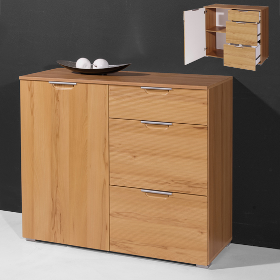 Village Small Sideboard In Core Beech With 1 Door And 3 Drawers