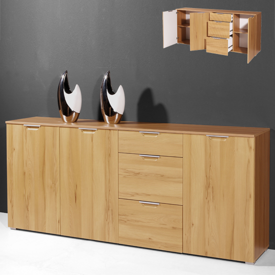 Oak Furniture Village Sale: Village Buffet Sideboard In Core Beech With 3 Doors And 3