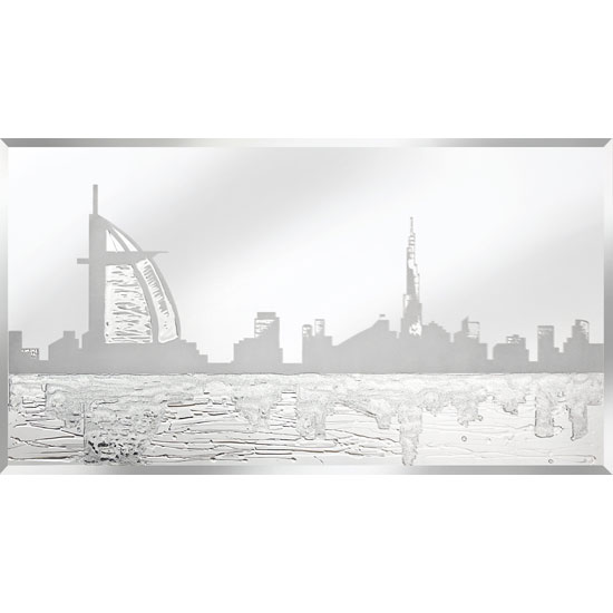 Siena Glass Wall Art In Silver With Dubai Design On Mirror