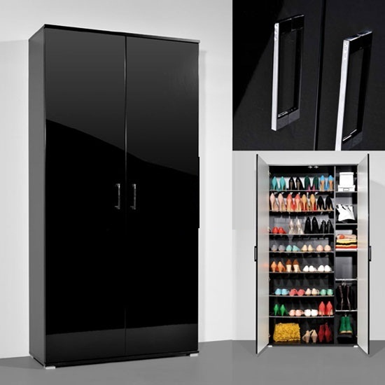 Scarpa Shoe Cupboard With In Black Gloss With 2 Doors