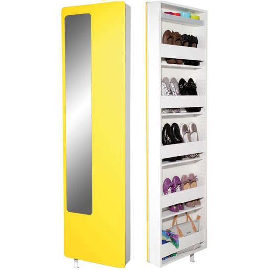 Spin Rotating Yellow Shoe Storage With Mirror 3108-143