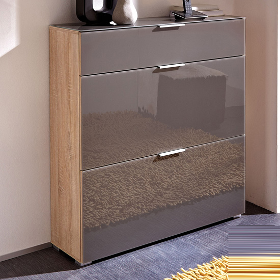 Perla Shoe Cabinet In Canadian Oak And Graphite Glass