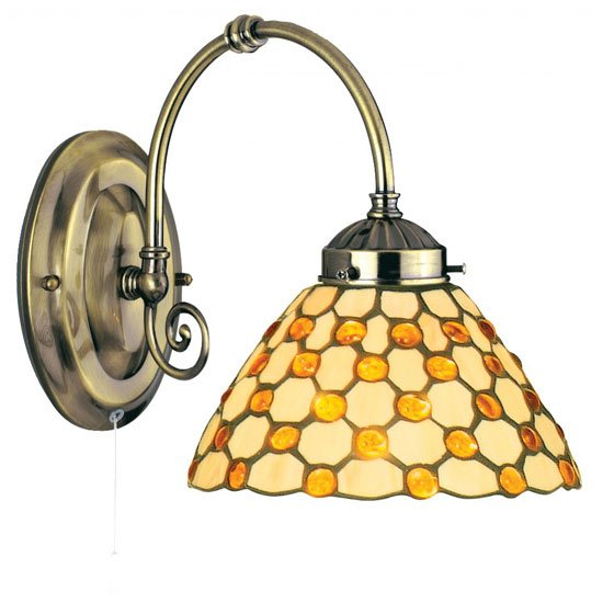 Raindrop Single Wall Light Finished In Antique Brass Brown