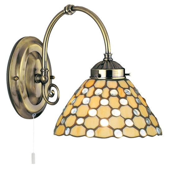 Raindrop Single Wall Light Finished In Antique Brass Clear